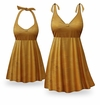 SOLD OUT! CLEARANCE! Caramel Coffee Print Halter 2pc Plus Size Swimsuit/SwimDress TALL 2x