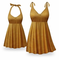 CLEARANCE! Caramel Coffee Print Halter or Shoulder Strap 2pc Plus Size Swimsuit/SwimDress 2x
