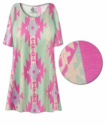 SOLD OUT! CLEARANCE! Customizable Mint Green Aztec Print Plus Size & Supersize Extra Long T-Shirts 8x