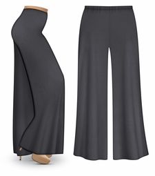 SOLD OUT! CLEARANCE! Dark Gray Wide Leg Palazzo Pants in Slinky, Velvet or Cotton Fabric - Plus Size & Supersize XL