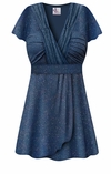 CLEARANCE! Plus Size Embossed Blue Glitter Slinky MAGIC BABYDOLL Top LG