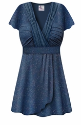 FINAL CLEARANCE SALE! Plus Size Embossed Blue Glitter Slinky Print MAGIC BABYDOLL Top LG 2X