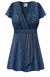 SOLD OUT! CLEARANCE! Plus Size Embossed Blue Glitter Slinky Print MAGIC BABYDOLL Top LG