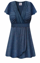 CLEARANCE! Plus Size Embossed Blue Glitter Slinky Print MAGIC BABYDOLL Top LG