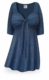 SOLD OUT! CLEARANCE! Embossed Blue Glitter Slinky Tie Babydoll Shirt Plus Size & Supersize XL