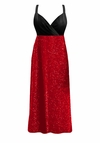 CLEARANCE! Gorgeous Onyx Black & Red Glimmer Plus Size Empire Waist Dress 8x
