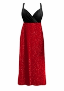 CLEARANCE! Gorgeous Onyx Black & Red Glimmer Plus Size Empire Waist Dress w/Matching Wrap 8x TALL