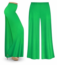 CLEARANCE! Grass Green Wide Leg Palazzo Pants in Slinky, Velvet or Cotton Fabric - Plus Size & Supersize 6x