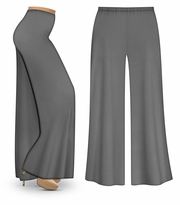 CLEARANCE! Gray Wide Leg Palazzo Pants in Slinky, Velvet or Cotton Fabric - Plus Size & Supersize LG XL 3x