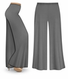 CLEARANCE! Gray Wide Leg Palazzo Pants in Slinky, Velvet or Cotton Fabric - Plus Size & Supersize LG