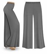 CLEARANCE! Gray Wide Leg Palazzo Pants in Slinky, Velvet or Cotton Fabric - Plus Size & Supersize LG XL