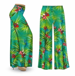 CLEARANCE! Green Orchid Slinky Print Plus Size & Supersize Palazzo Pants 3x