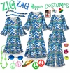 CLEARANCE! Hippie Plus Size Halloween Costume and Accessories! Groovy Zigzag Plus Size & SuperSize 60's Style Retro Dress or Top & Pants 0x