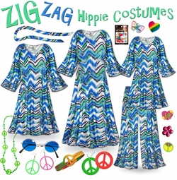 FINAL CLEARANCE SALE! Hippie Plus Size Halloween Costume and Accessories! Groovy Zigzag Plus Size & SuperSize 60's Style Retro Dress or Top & Pants 0x