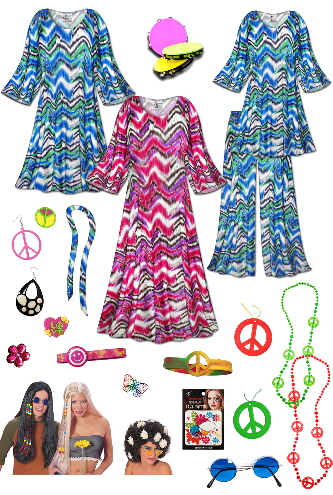 cf90ff5ba0b hippie plus size halloween costume and accessories groovy zigzag plus size  supersize 60s style retro dress