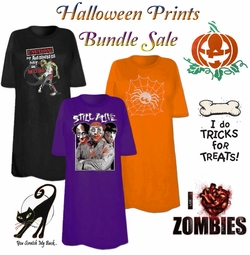 CLEARANCE! Halloween Print THREE T-SHIRT BUNDLE! Assorted Colors & Designs Plus Size & Supersize 2XL 3XL