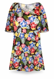 SOLD OUT! CLEARANCE! Plus Size Hibiscus Flower Print Poly/Cotton Extra Long T-Shirts 6x