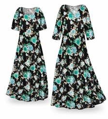 CLEARANCE! Icy Garden Slinky Print Plus Size & Supersize Dress 0x