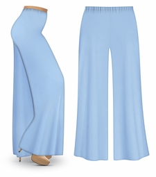 FINAL CLEARANCE SALE! Light Blue Wide Leg Palazzo Pants in Slinky, Velvet or Cotton Fabric - Plus Size & Supersize 0x