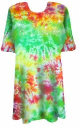 SOLD OUT! CLEARANCE! Marble Tie Dye Sparkly Kittens Rhinestuds Plus Size T-Shirt 5xl
