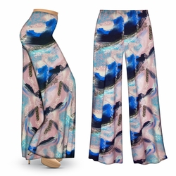 CLEARANCE! Natural Dry Brush/Cobalt Blue and Light Mauve Slinky Print Plus Size & Supersize Palazzo Pants XL