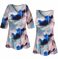 CLEARANCE! Plus Size Natural Dry Brush/Cobalt Blue and Light Mauve Slinky Print Tops 5x