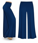 CLEARANCE! Navy Wide Leg Palazzo Pants in Slinky, Velvet or Cotton Fabric - Plus Size & Supersize XL 0x 1x