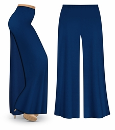 CLEARANCE! Plus Size Navy Wide Leg Palazzo Pants in Slinky, Velvet or Cotton Fabric 1x