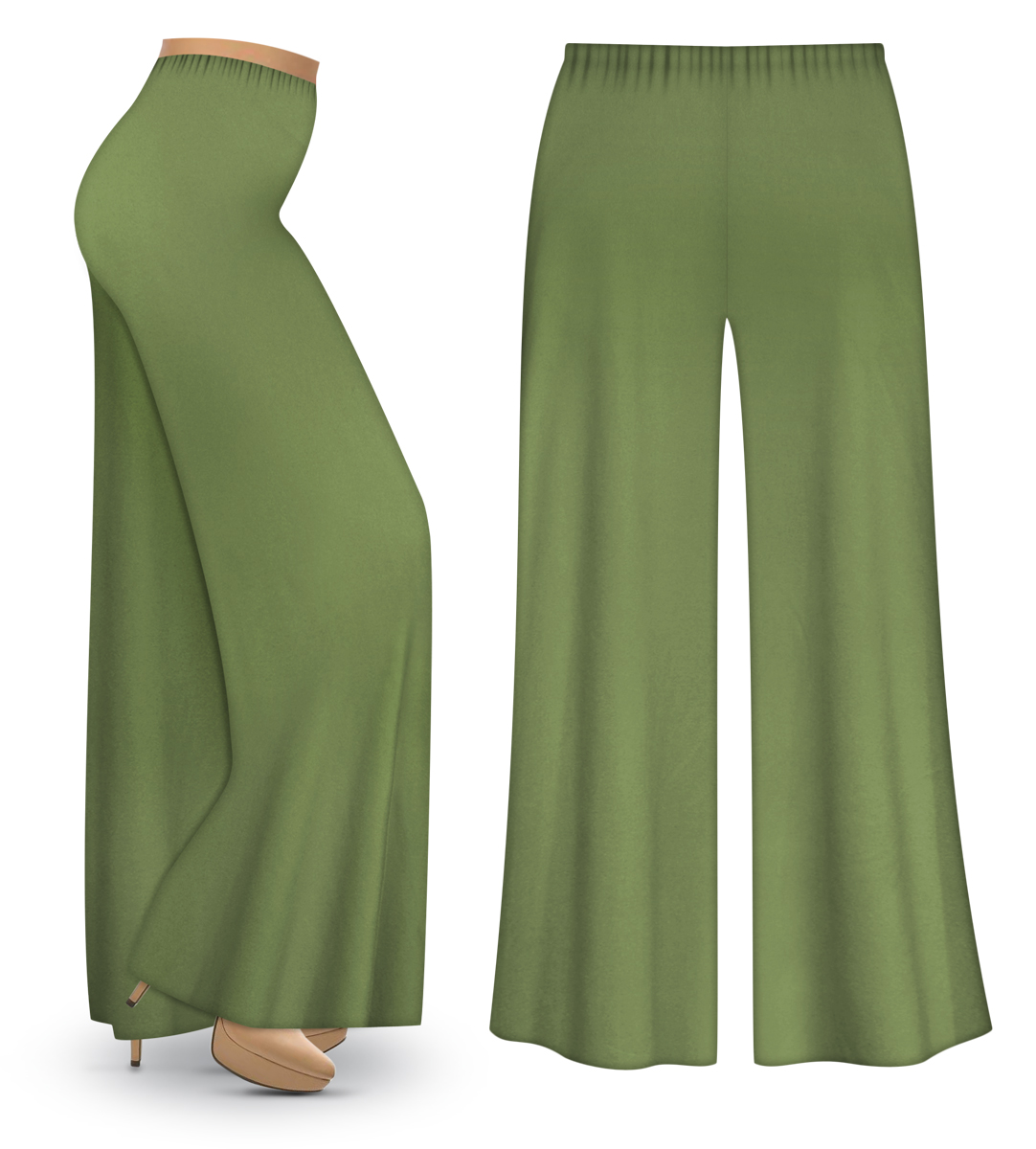 Sold Out Clearance Olive Green Wide Leg Palazzo Pants In Slinky