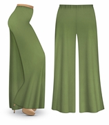 SOLD OUT! CLEARANCE! Olive Green Wide Leg Palazzo Pants in Slinky, Velvet or Cotton Fabric - Plus Size & Supersize 1x