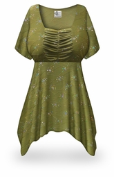 SOLD OUT! Plus Size Olive Grove Print Babydoll Top