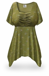 CLEARANCE! Plus Size Olive Grove Print Babydoll Top 5xT