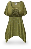 CLEARANCE! Plus Size Olive Grove Print Babydoll Top 5x