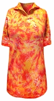 FINAL SALE! Orange and Red Tie Dye Jazzy Metallic Print Plus Size Short Sleeve Polo Shirt 2x 4x