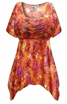 CLEARANCE! Plus Size Orange Crackle Slinky Print Babydoll Top 2x