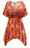 CLEARANCE! Plus Size Orange Crackle Print Babydoll Top 2x