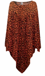 SOLD OUT! CLEARANCE! Orange Leopard Glittery Slinky Plus Size Supersize Poncho