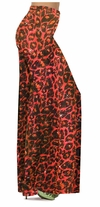 SOLD OUT! CLEARANCE! Orange Leopard Glittery Slinky Print Plus Size & Supersize Palazzo Pants 3x