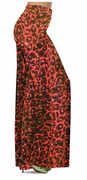 CLEARANCE! Orange Leopard Glittery Slinky Print Plus Size & Supersize Palazzo Pants 3x
