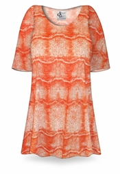 SOLD OUT! CLEARANCE! Orange Python Print Plus Size & Supersize Extra Long T-Shirts 4x