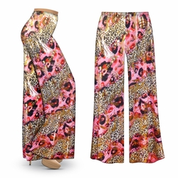 CLEARANCE! Pink Leopard with Gold Metallic Slinky Print Plus Size & Supersize Palazzo Pants LG