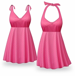 CLEARANCE! Pink Polka Dots Print Halter or Shoulder Strap 2pc Plus Size Swimsuit/SwimDress 2x