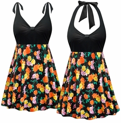 CLEARANCE! Plus Size Black with Orange & Yellow Roses Halter or Shoulder Strap 2pc Swimsuit/SwimDress 0x 1x