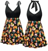 CLEARANCE! Plus Size Black with Orange & Yellow Roses Halter or Shoulder Strap 2pc Swimsuit/SwimDress 0x