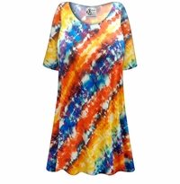 CLEARANCE! Plus Size Blue and Orange Abstract Slinky Print Tops 2x 4x 6x
