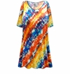 FINAL CLEARANCE SALE! Plus Size Blue and Orange Abstract Slinky Print Tops 2x 4x