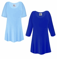 CLEARANCE! Plus Size Light or Royal Blue Slinky Top 2x 3x