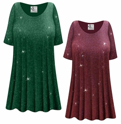 CLEARANCE! Plus Size Burgundy or Green With Glittery Gold Dots Slinky Print Tops 2x 6x