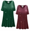 CLEARANCE! Plus Size Burgundy With Glittery Dots Slinky Print Tops 1x