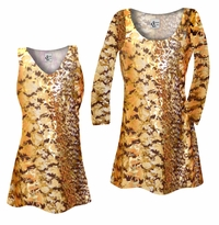 CLEARANCE! Plus Size Customizable Orange, Brown, and Yellow Autumn Leaves Metallic Slinky Print Tops 1x 2x 3x